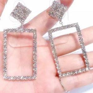 NIB Crystal Rhinestone Square Statement Earrings